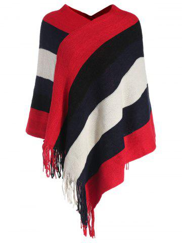 V Neck Color Block Striped Cape Sweater