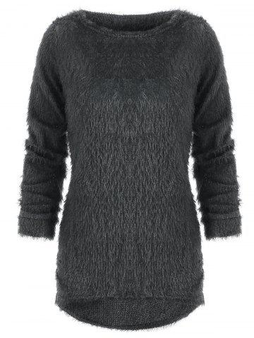 Faux Fluffy Round Neck Blouse