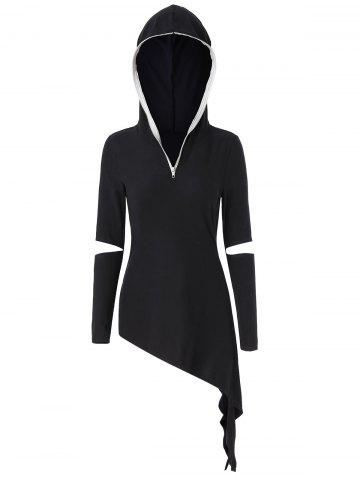 Cut Out Zip Design Asymmetrical Hoodie