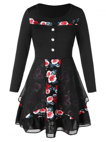 Plus Size Flower Print Multilayer High Low Dress