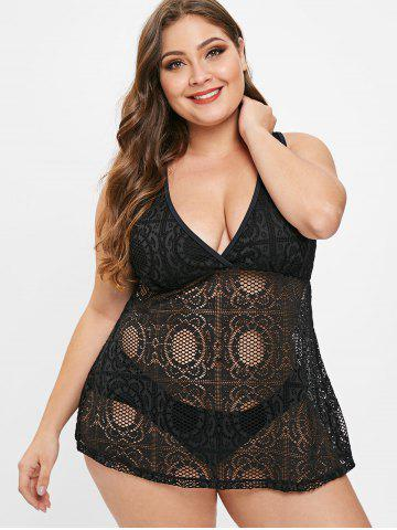 Plus Size Padded Openwork Tankini Set