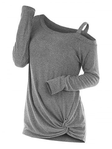 Knotted Skew Neck Sweater