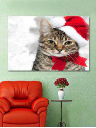 Christmas Cat Print Wall Art Sticker -