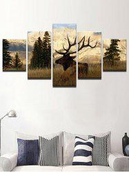 Forest Deer Print Split Unframed Canvas Paintings -