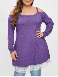 Plus Size Two Tone Tee with Lace Panel -
