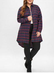 Plus Size Asymmetric Plaid Long Shirt -