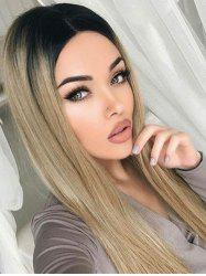 Center Parting Ombre Long Straight Capless Synthetic Wig -