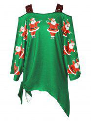 Plus Size Open Shoulder Santa Claus Christmas T-shirt -