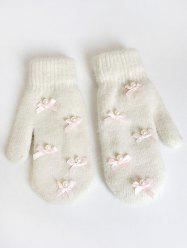 Vintage Bowknot Faux Pearl Mitten Gloves -