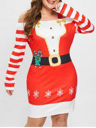 Plus Size Long Sleeves Christmas Graphic Bodycon Dress -