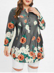 Plus Size Floral Buttons Tunic Tee -