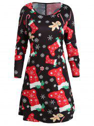 Socks Snowflake Print Christmas Swing Dress -