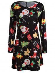 Christmas Print Mini Swing Dress -