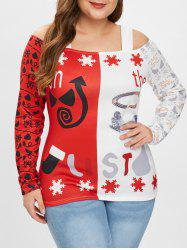 Plus Size Long Sleeves Christmas Graphic Tee -