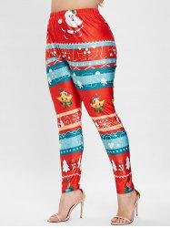 Plus Size Christmas Graphic Skinny Leggings -