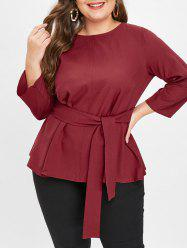 Plus Size Long Sleeves Peplum Top -