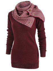 Long Sleeve Sweater with Striped Scarf -