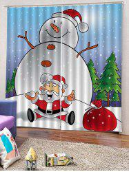 2PCS Funny Snowman Father Christmas Window Curtains -