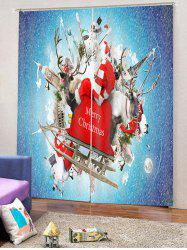2PCS Father Christmas Printed Window Curtains -