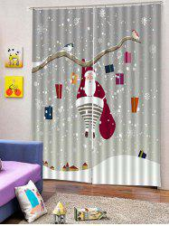 2PCS Father Christmas Gift Snowflake Window Curtains -