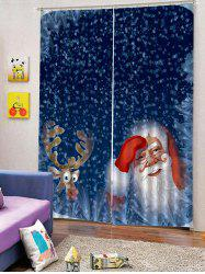 2PCS Deer Father Christmas Window Curtains -