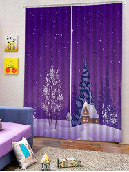 2PCS Christmas Snow Forest Window Curtains -