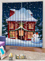 2PCS Christmas Home Snowman Window Curtains -