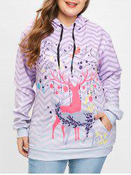 Plus Size Christmas Deer Print Drawstring Hoodie -