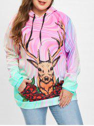Christmas Deer Print Plus Size Drawstring Hoodie -