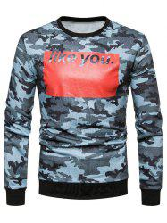 Color Block Letter Printed Camouflage Sweatshirt -