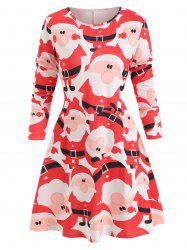 Christmas Santa Print Round Neck Dress -
