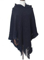 Irregular Fringe Hooded Pullover Shawl Sweater -