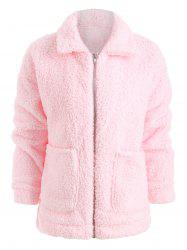 Front Pocket Faux Fur Coat -
