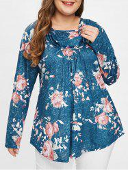 Plus Size Floral Tee with Heaps Collar -