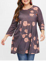 Plus Size Floral Printed Tunic Top -