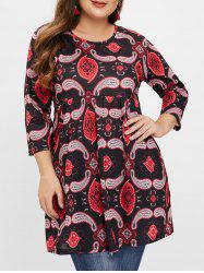 Plus Size Paisley Floral Tunic Top -