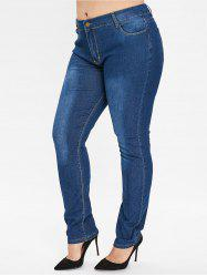 Plus Size Zipper Fly Plain Jeans -
