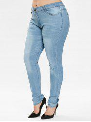 Plus Size Mid Waisted Plain Jeans -