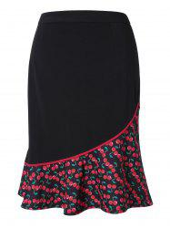 Plus Size High Rise Cherry Print Mermaid Skirt -