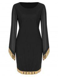 Flare Sleeve Sequin Panel Sheath Dress -