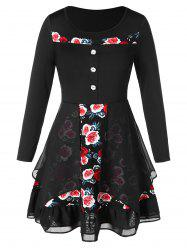 Plus Size Flower Print Multilayer High Low Dress -