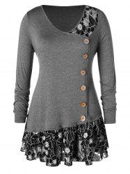 Plus Size Buttoned Lace Insert Tunic T-shirt -