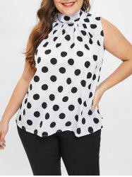 Plus Size Polka Dot High Neck Contrast Top -