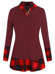 Plus Size Plaid Panel T-shirt -