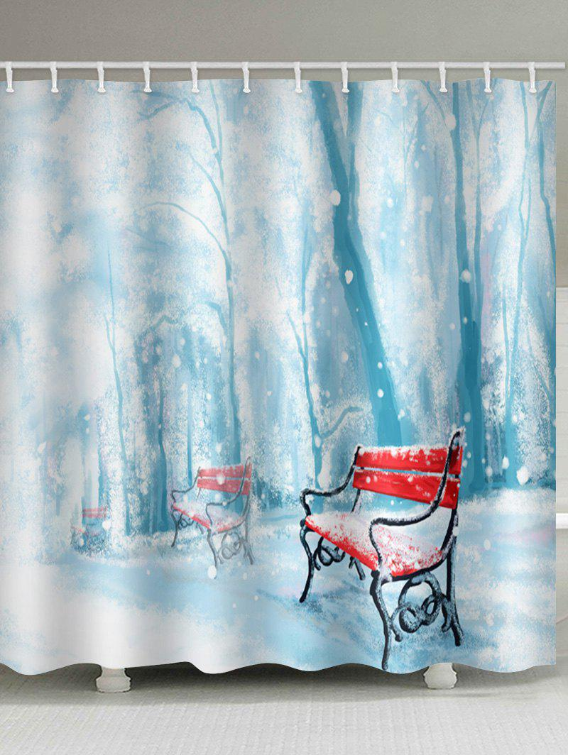 Shops Christmas Snow Printed Waterproof Shower Curtain