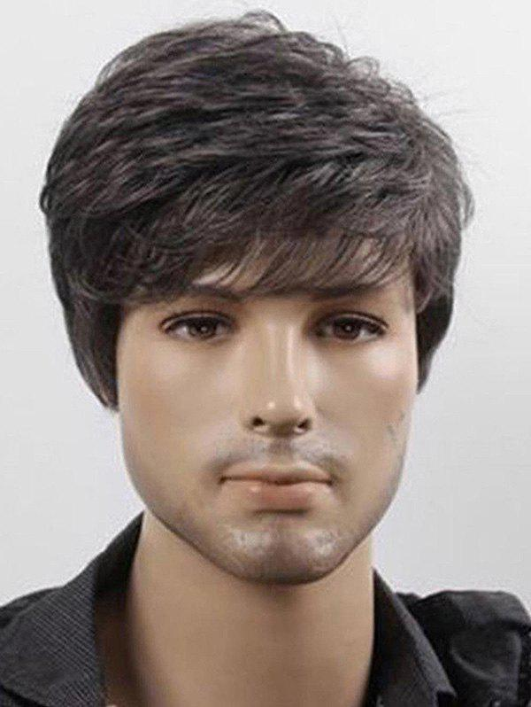 Trendy Short Side Bang Straight Capless Synthetic Wig for Men