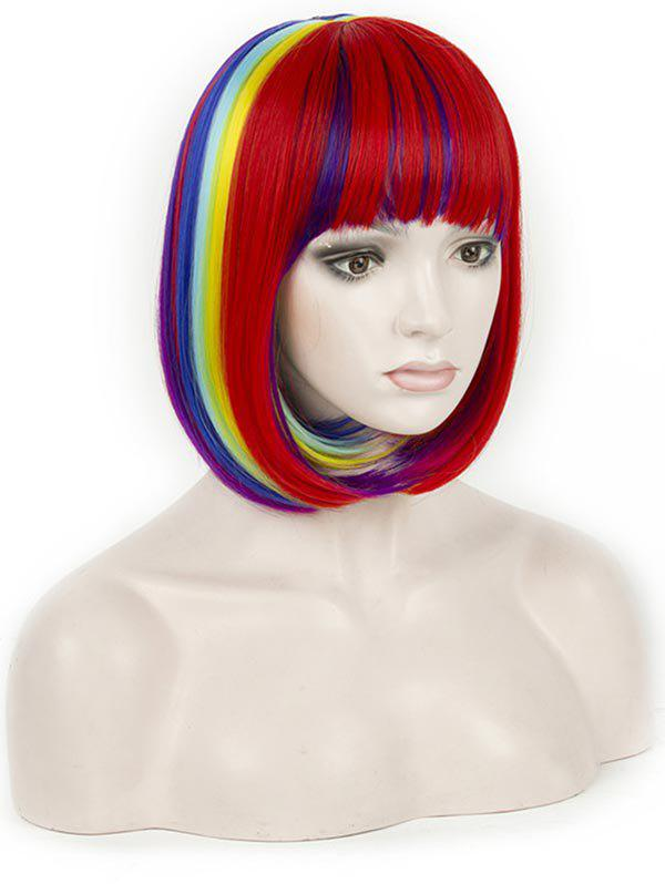 Shops Short Full Bang Colorful Rainbow Straight Bob Synthetic Wig