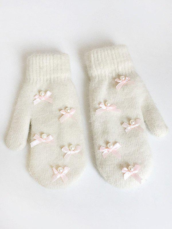 Outfits Vintage Bowknot Faux Pearl Mitten Gloves
