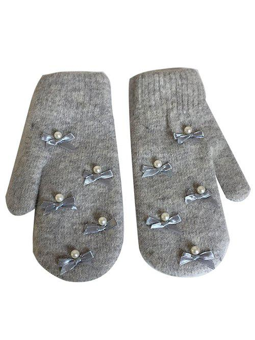 Latest Vintage Bowknot Faux Pearl Mitten Gloves