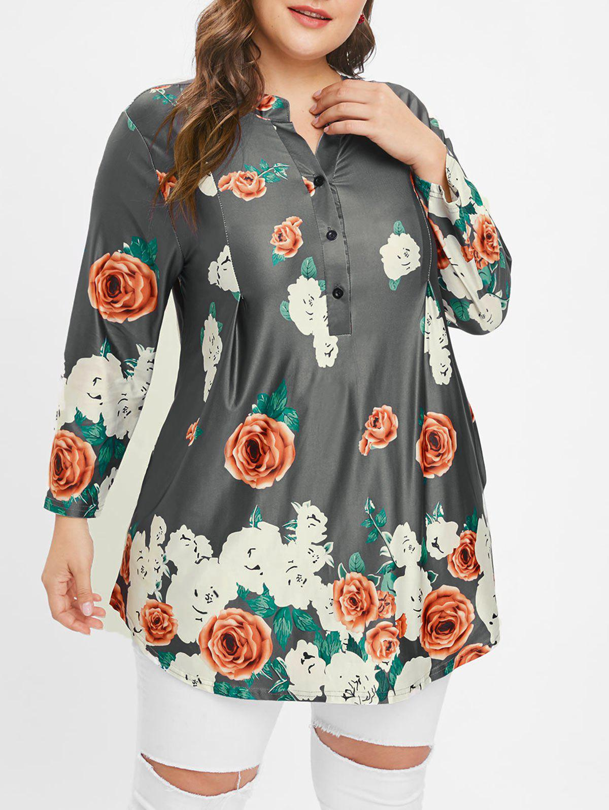 Latest Plus Size Floral Buttons Tunic Tee